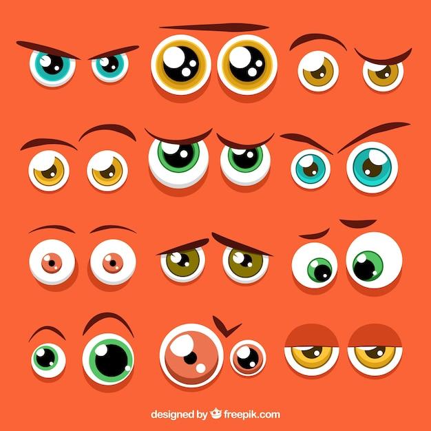 Colorful occhi collezione di personaggi Vettore gratuito