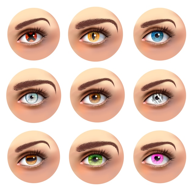 Colorful eyes with different pupils set Free Vector