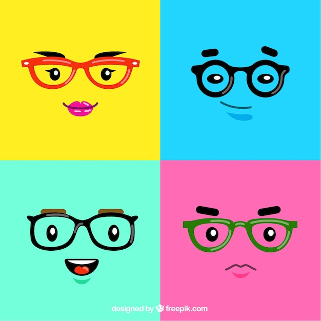 Colorful faces with glasses Free Vector