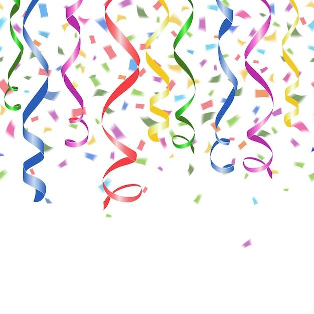 Coriandoli di carta cadenti colorati e stelle filanti roteate su un bianco Vettore gratuito
