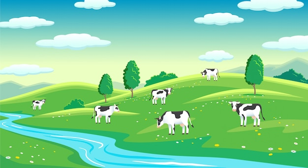Colorful farm summer landscape, blue clear sky with sun, cows on field Premium Vector