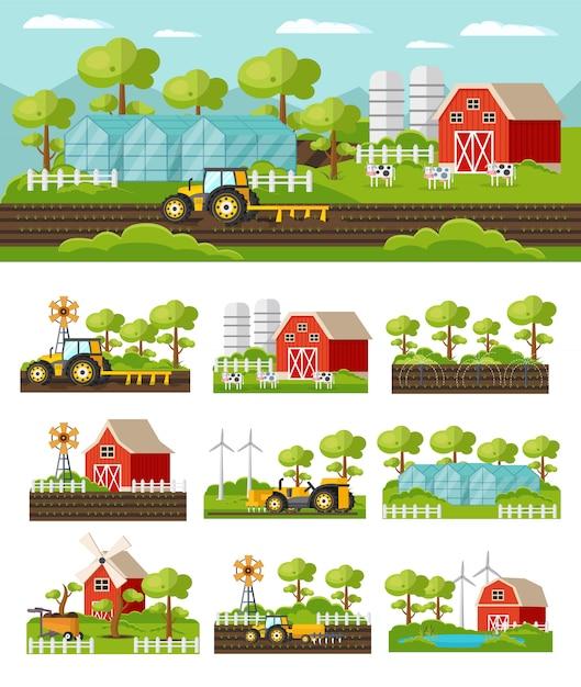 Colorful farming concept Free Vector