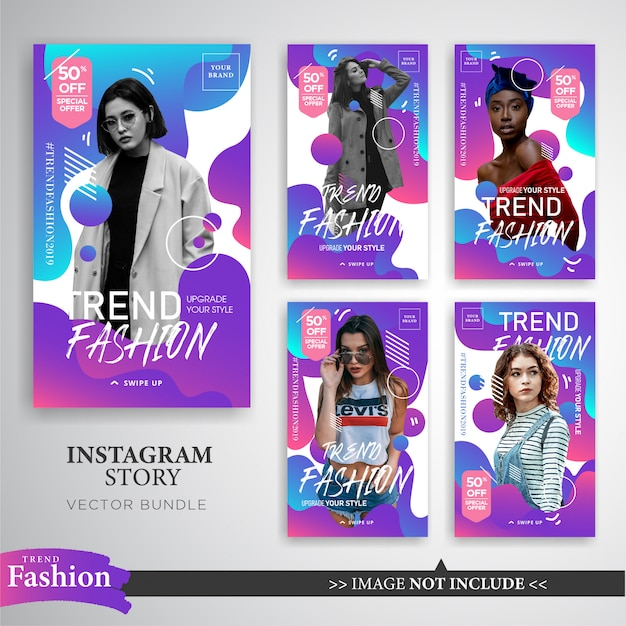 Colorful fashion sale instagram stories template Premium Vector