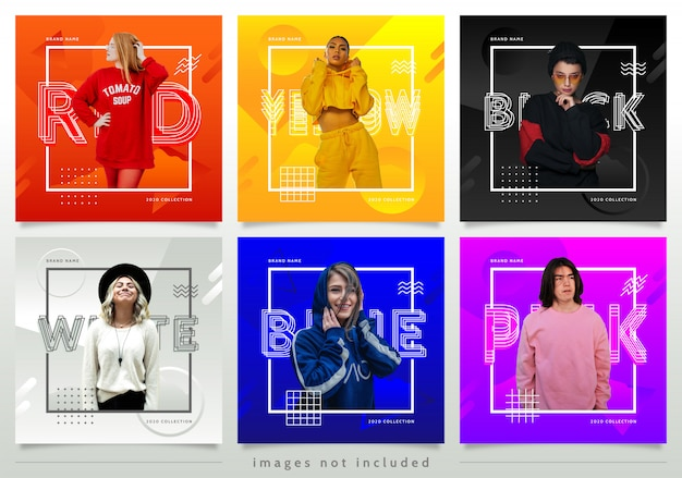 Colorful fashion style social media post template Premium Vector