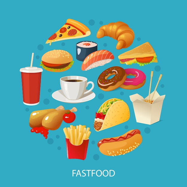 Colorful fast food concept Premium Vector