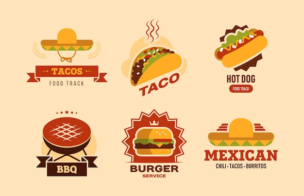 Colorful fast food flat logo set. fastfood cafe with taco, hot dog, burger, burritos and bbq vector illustration collection. food delivery and nutrition concept Free Vector