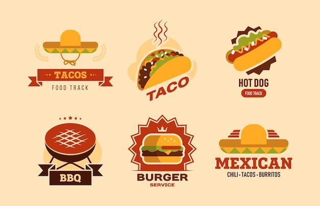 Set di logo piatto colorato fast food. fastfood cafe con taco, hot dog, hamburger, burritos e raccolta di illustrazione vettoriale barbecue. consegna del cibo e concetto di nutrizione Vettore gratuito