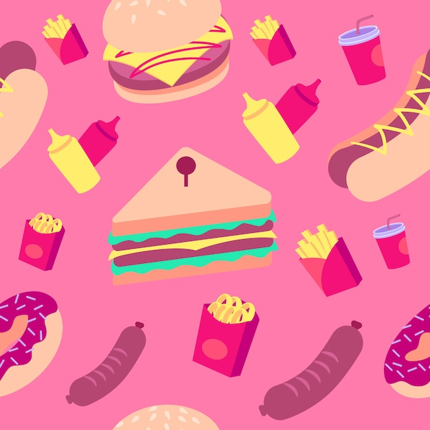 Colorful fast food pattern Premium Vector