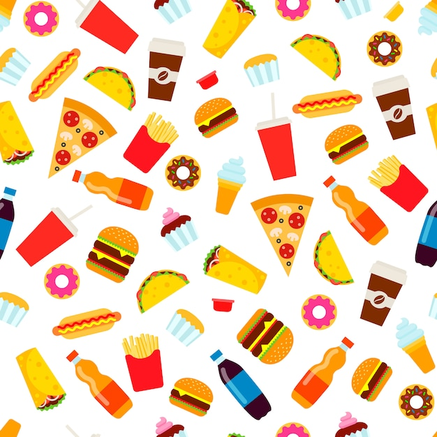 Colorful fast food seamless pattern. Premium Vector