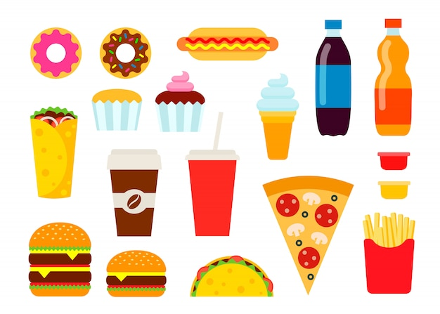 Colorful fast food set in flat style. Premium Vector