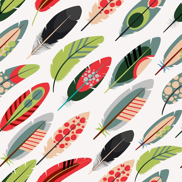 Colorful feathers pattern Premium Vector