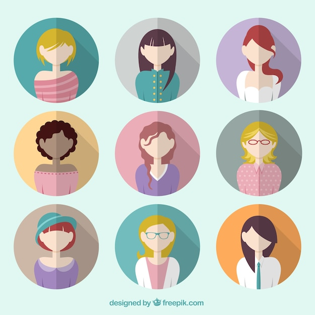Colorful female avatars Free Vector