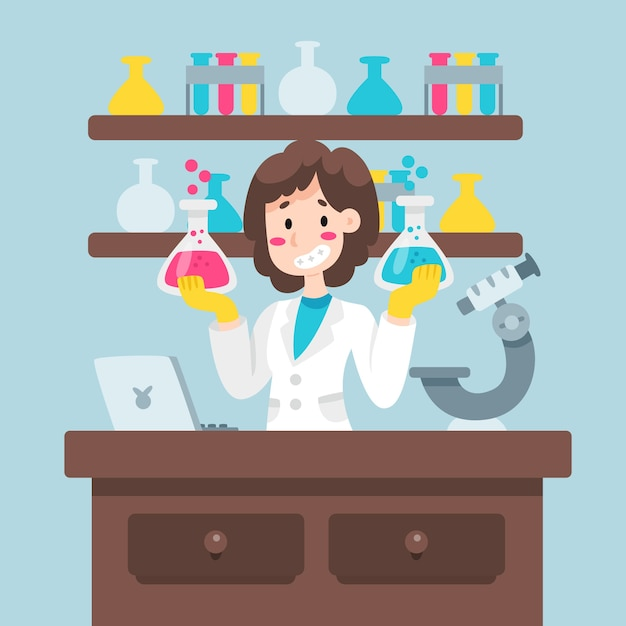 Colorful female scientist illustration Free Vector