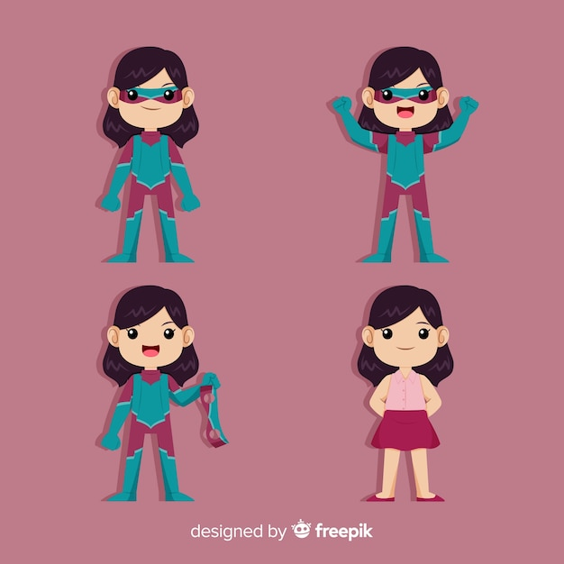 Colorful female superhero collection with flat design Free Vector