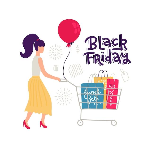 白地にカラフルなfemalr販売文字。スタイルのスカートとショッピングカートとバッグが並ぶ女性。大きな割引、ブラックフライデーレタリング引用。図。 Premiumベクター