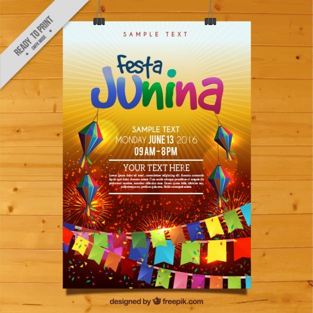 Colorful festa junina celebration poster Free Vector