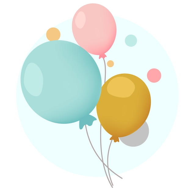 Colorful festive balloons design vectors Free Vector
