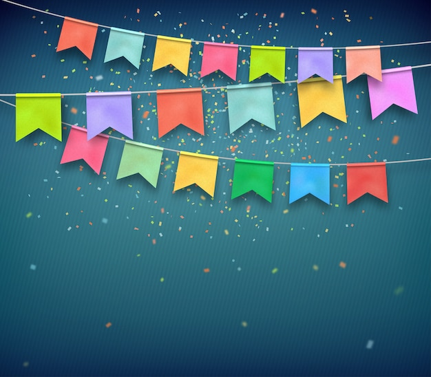 Colorful festive flags with confetti on dark blue background. Premium Vector