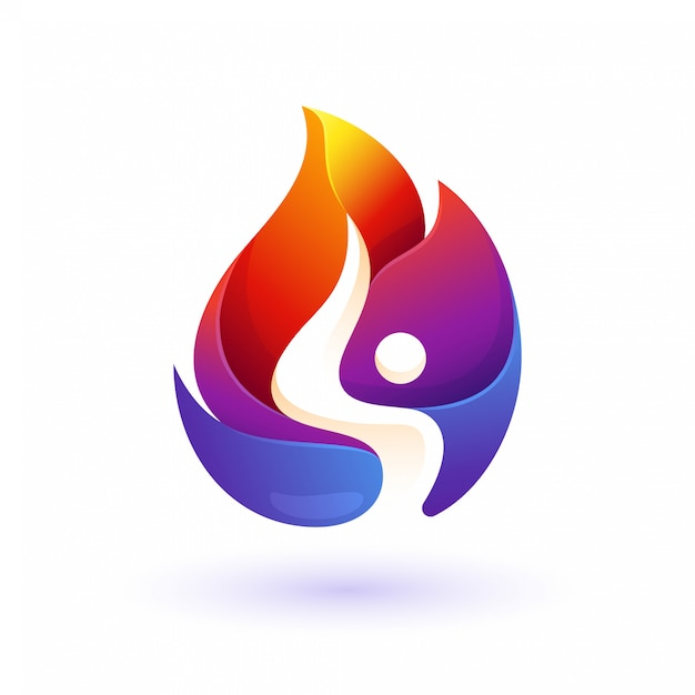 Colorful fire people Premium Vector