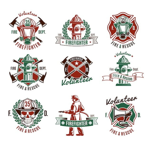 Colorful fire protection labels set with firefighter skull rescue tools Free Vector