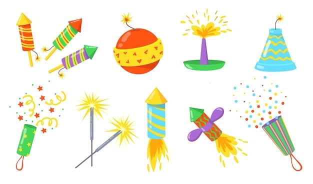 Set piatto illustrazione di petardi colorati. bombe, razzi e cracker del fumetto con la raccolta dell'illustrazione di vettore isolata dei fusibili. fuochi d'artificio per il concetto di vacanza e celebrazione Vettore gratuito