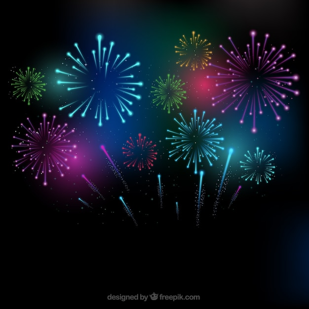 colorful fireworks background vector free download