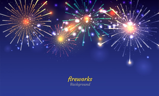 Colorful fireworks on night sky background Premium Vector