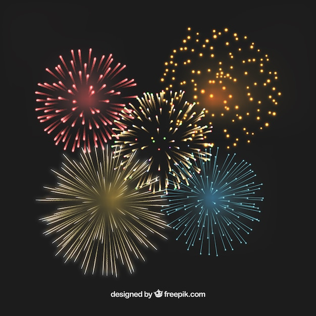 Colorful fireworks Free Vector