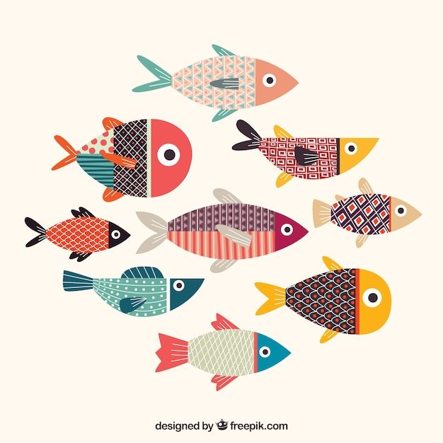 Colorful fishes collection with texture Free Vector
