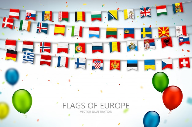 Colorful flags countries of europe Premium Vector