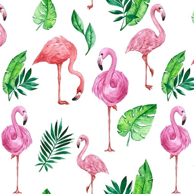 Красочный узор птицы фламинго Бесплатные векторы