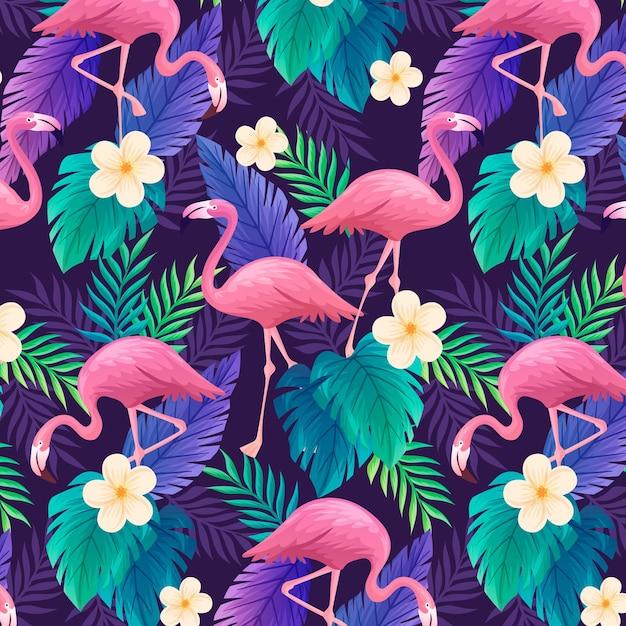 Красочный узор фламинго Бесплатные векторы