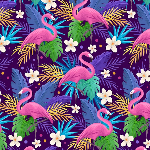 Colorful flamingo pattern Free Vector