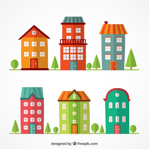 colorful flat buildings vector free download rh freepik com vector building blocks vector builders