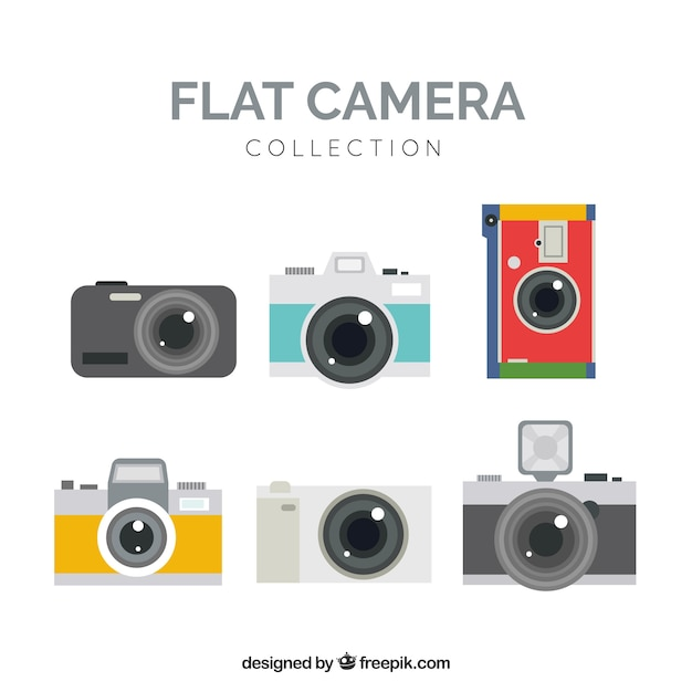 Colorful flat camera collection