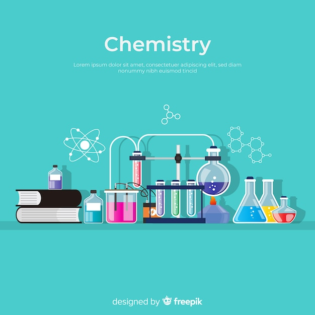 Colorful flat chemistry background Free Vector