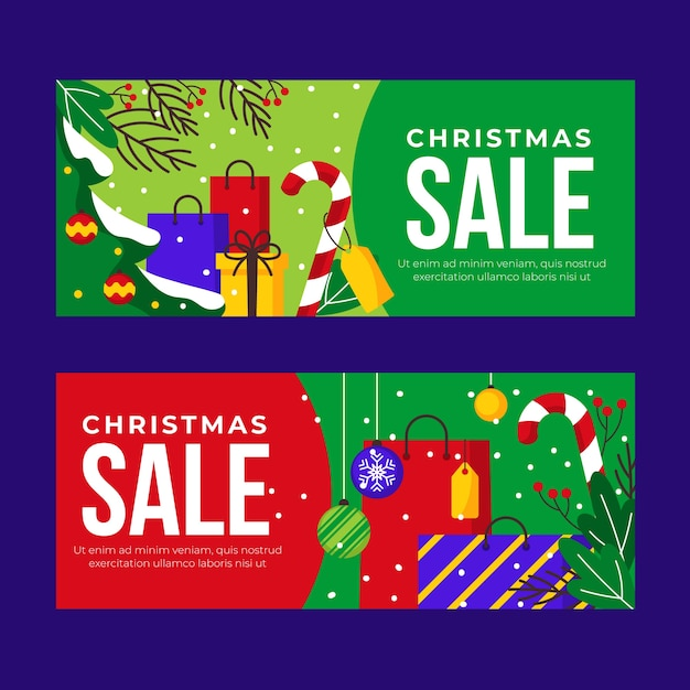 Colorful flat christmas sale banners Free Vector