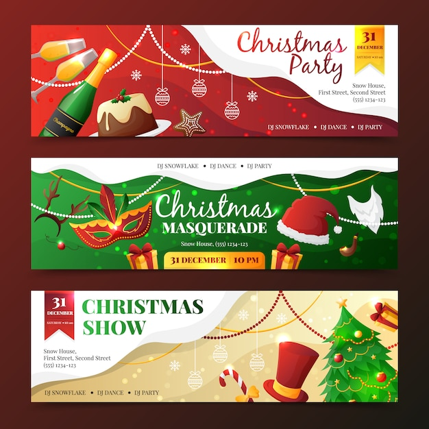 Colorful flat design christmas party and masquerade invitation banners Free Vector
