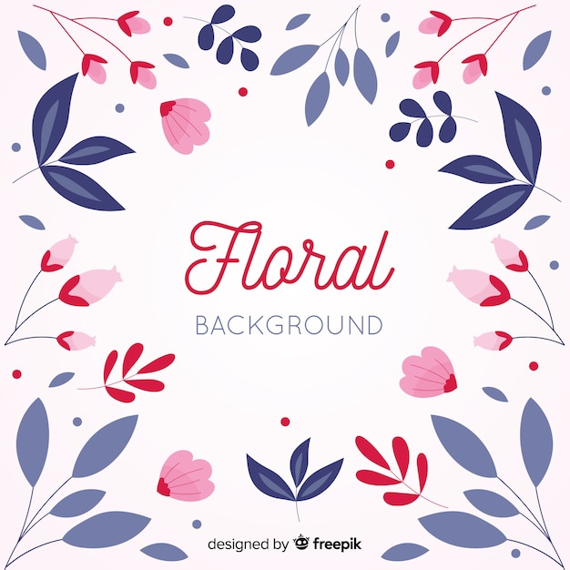 Colorful flat design floral background Free Vector