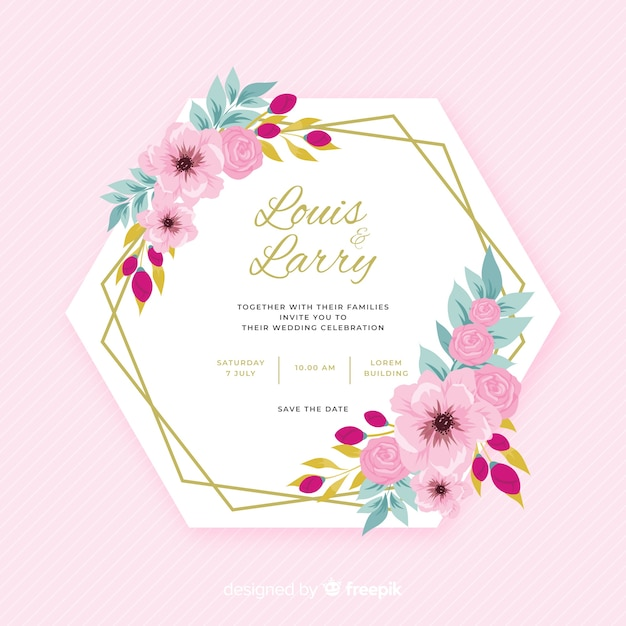Colorful flat design of floral frame wedding invitation Free Vector
