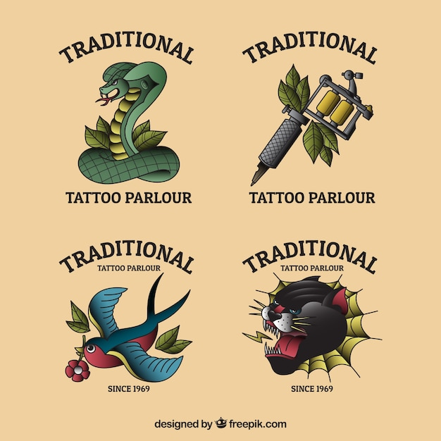 Colorful flat design logo tattoo studio collection Free Vector