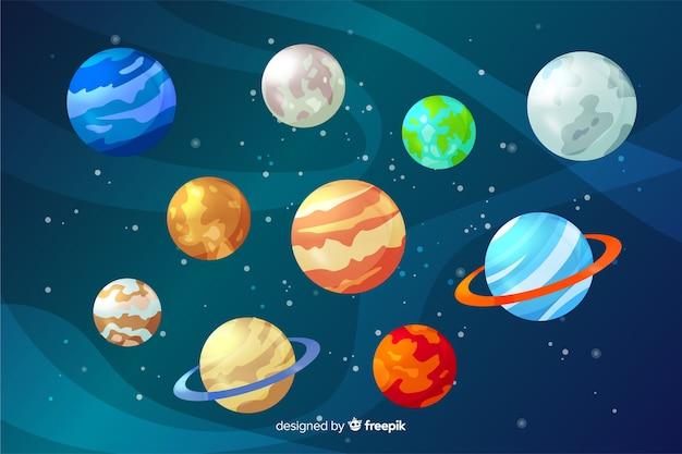 Collezione pianeta colorato design piatto Vettore gratuito