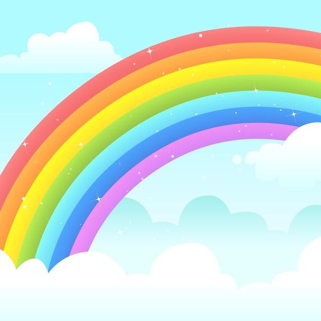 Красочный плоский дизайн радуга в облаках Бесплатные векторы