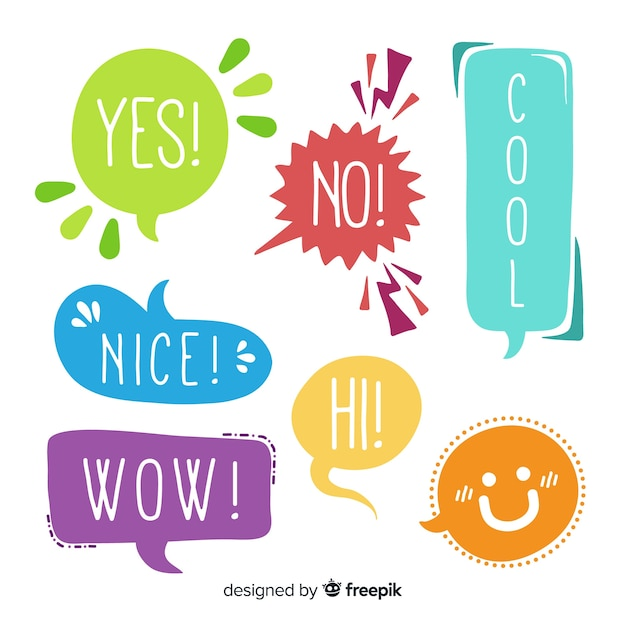 Colorful flat design speech bubbles with different expressions Free Vector