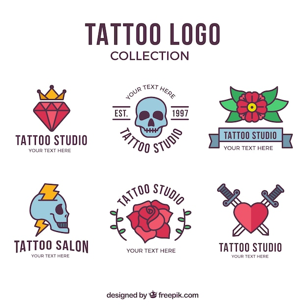 Colorful flat design tattoo logo collection Free Vector