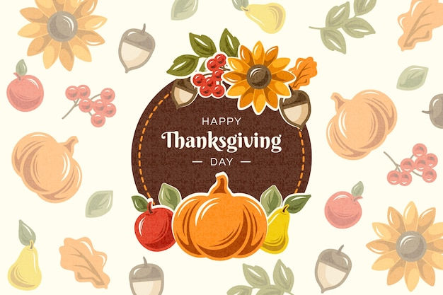 Colorful flat design for thanksgiving background Free Vector