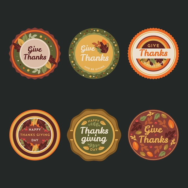 Colorful flat design for thanksgiving label Free Vector