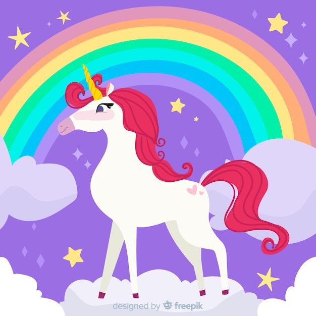 Colorful flat design unicorn background Free Vector