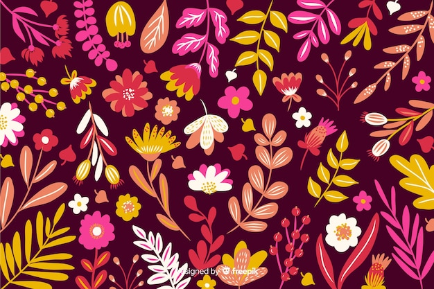 Colorful flat flowers decorative background Free Vector