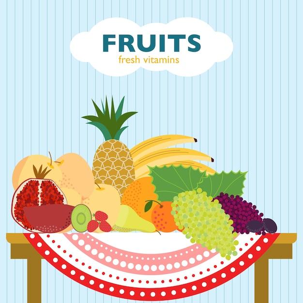 Красочная плоская фруктовая концепция с органическими свежими спелыми продуктами, лежащими на столе Бесплатные векторы